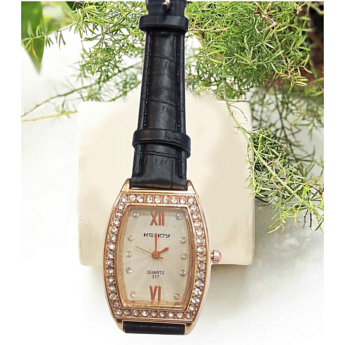 4467bbd955 Buy Generic Womens Analog Leather Watch - Black  Gold   Best Price ...