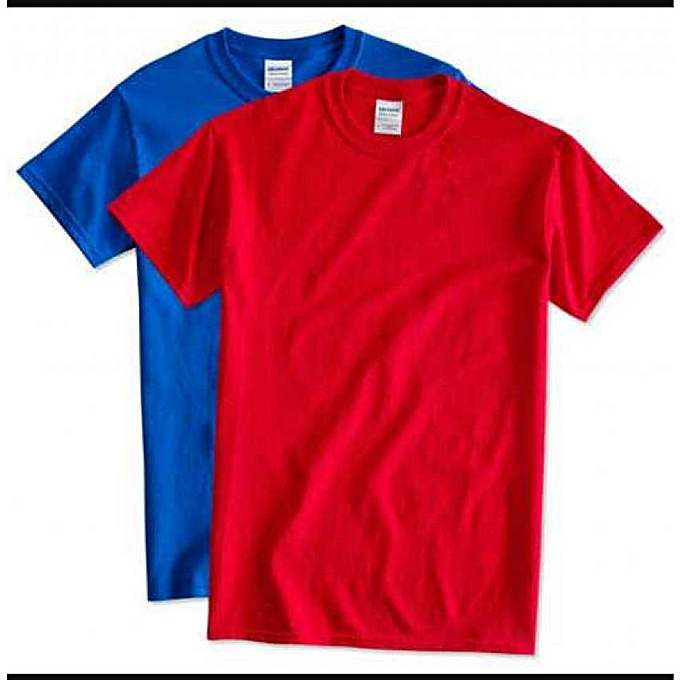 0765646a3e28 Buy Manga Pack Of 2 Round Neck Plain T-Shirts - Red,Blue @ Best ...