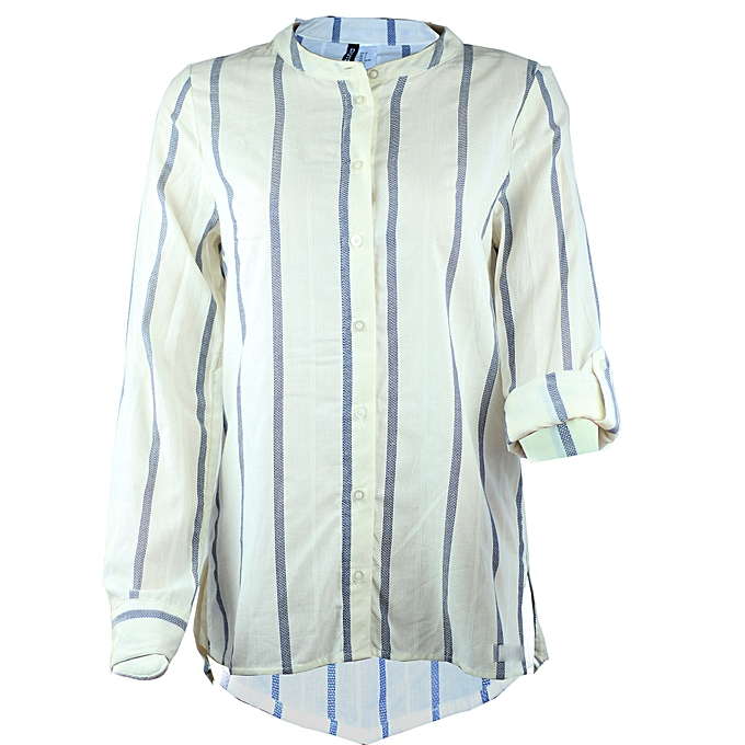 e7909b2a Good Quality Pure Cotton Relaxed Striped Women Shirt Blouse Button Down  High Low Top