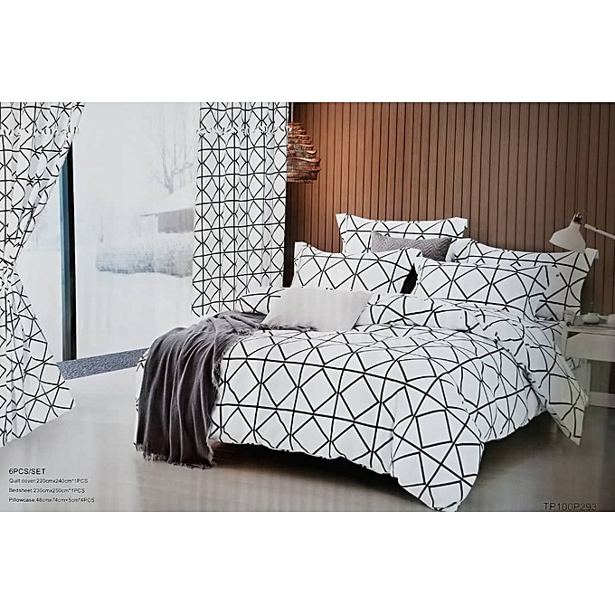 Buy Generic 6 Pieces Bold Printed Duvet Set 1 Bedsheet 1 Duvet