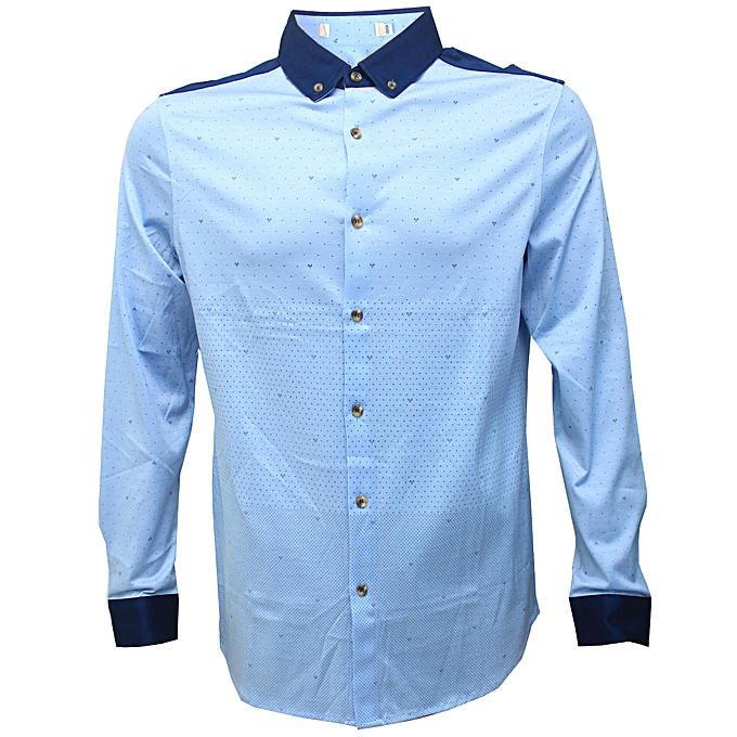 f6b158f5f6 Smart Casual Collar Slim Fit Extra Long Sleeve Button Down Men s Light Blue  Shirt Slim Fit