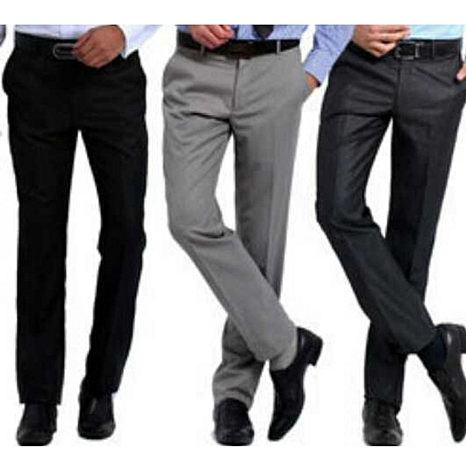 154088872f Pack Of 3 Men's Formal Trousers - Multi-Color