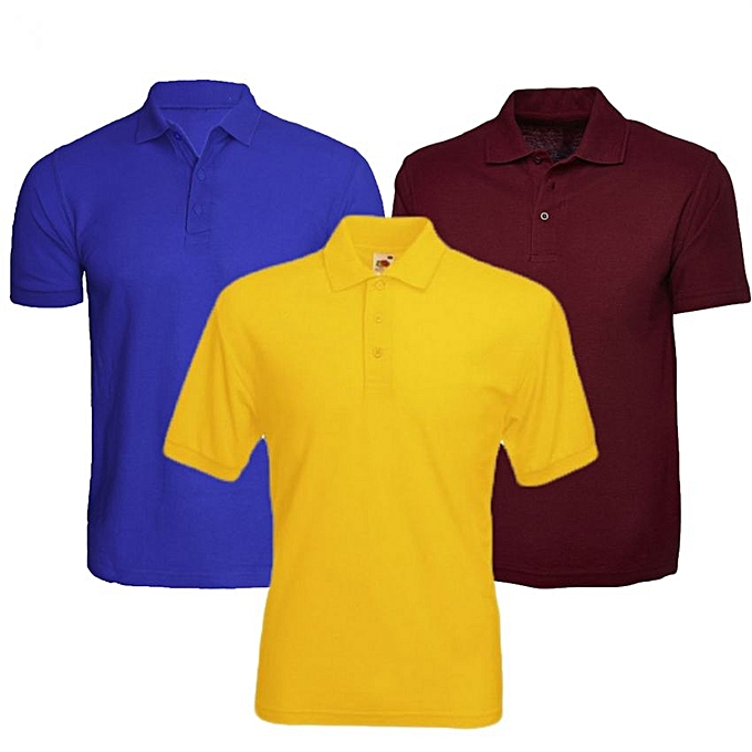 Buy Sport 3 Pack Of Men S Polo T Shirts Multi Color Best Price