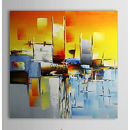 buy white colorful abstract heart oil paintings on canvas wall art