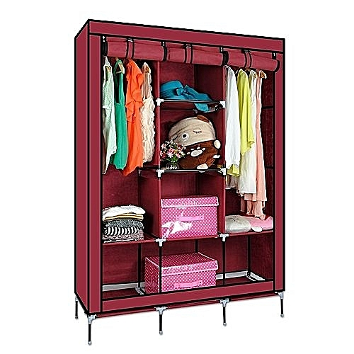 Portable Wardrobe Anti Dust Moisture Proof Non Woven Foldable Clothes  Storage Cabinet Shelf Closet With Hanging