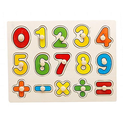 Wooden Toys Grasping Board Puzzle Cognitive Board Hand Digit Math Symbols 1 6 Years Old Puzzle Toy