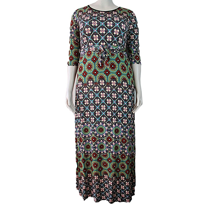 buy white label half sleeves maxi dress with prints multicolor