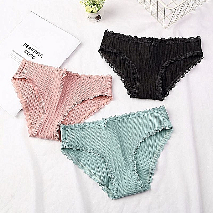 992f707ac2cd Pack of 3 Lace-trimmed student triangle underwear knitted cotton seamless  underwear Multicolour