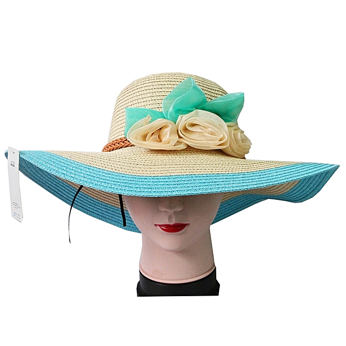 Buy Little More Straw Beach Hat with Floral Details - Blue Borders ... 3e43ab69616