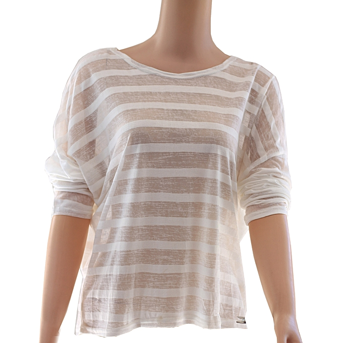 8d88c468b72 Women Sheer Top Transparent Striped Cover Up Pullover Loose See Throuh Top  Casual