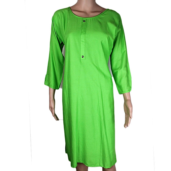 buy white label solid colour long top kurti lime green best