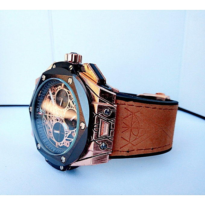 d77a426688 Buy Generic Men s Chronograph Brown Leather Strap Wristwatch   Best ...