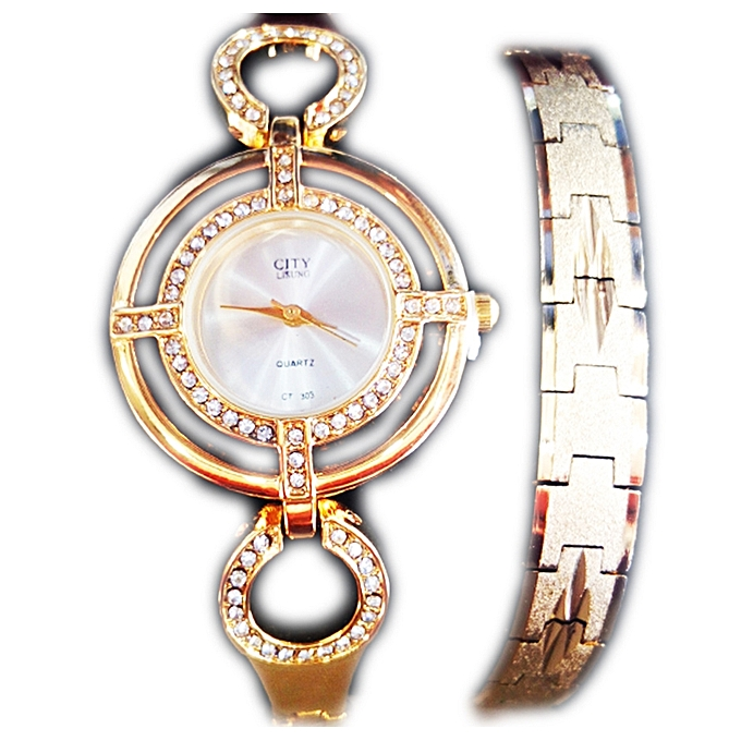 8d300d00ff Buy Generic Stainless Steel Women s Fashion Watch And Bracelet ...