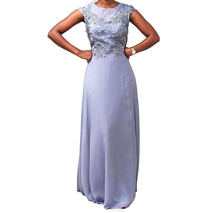 Buy White Label Asymmetric Evening Gown - Metallic Grey @ Best Price ...